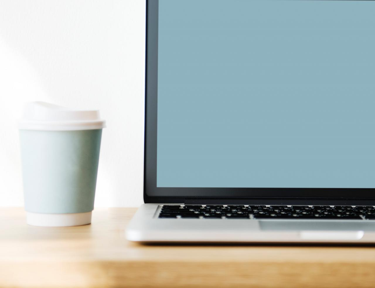 Macbook Pro Beside Gray Disposable Cup on Brown Wooden Surface, portable, monitor, screen, table, HQ Photo