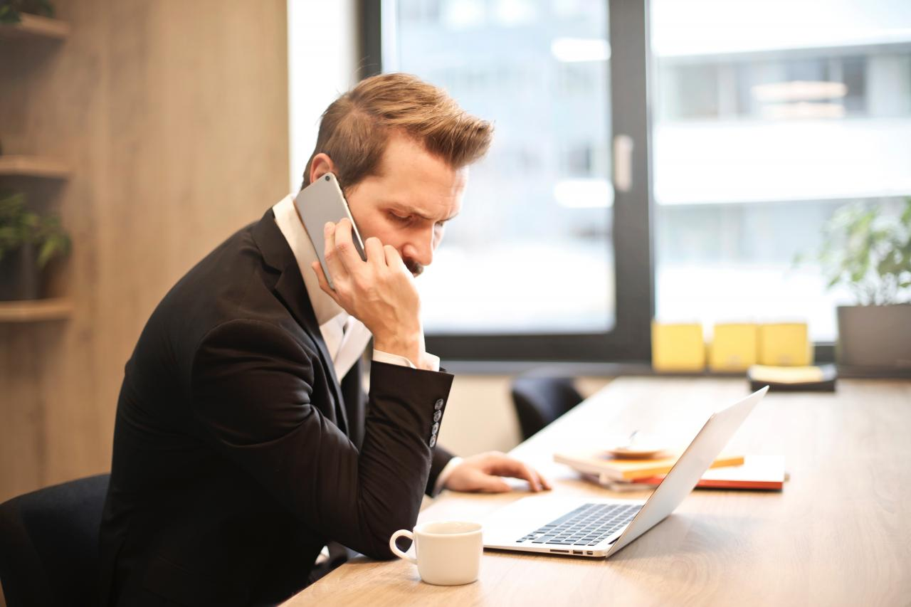 Man Having a Phone Call In-front of a Laptop, phone, room, person, office, HQ Photo