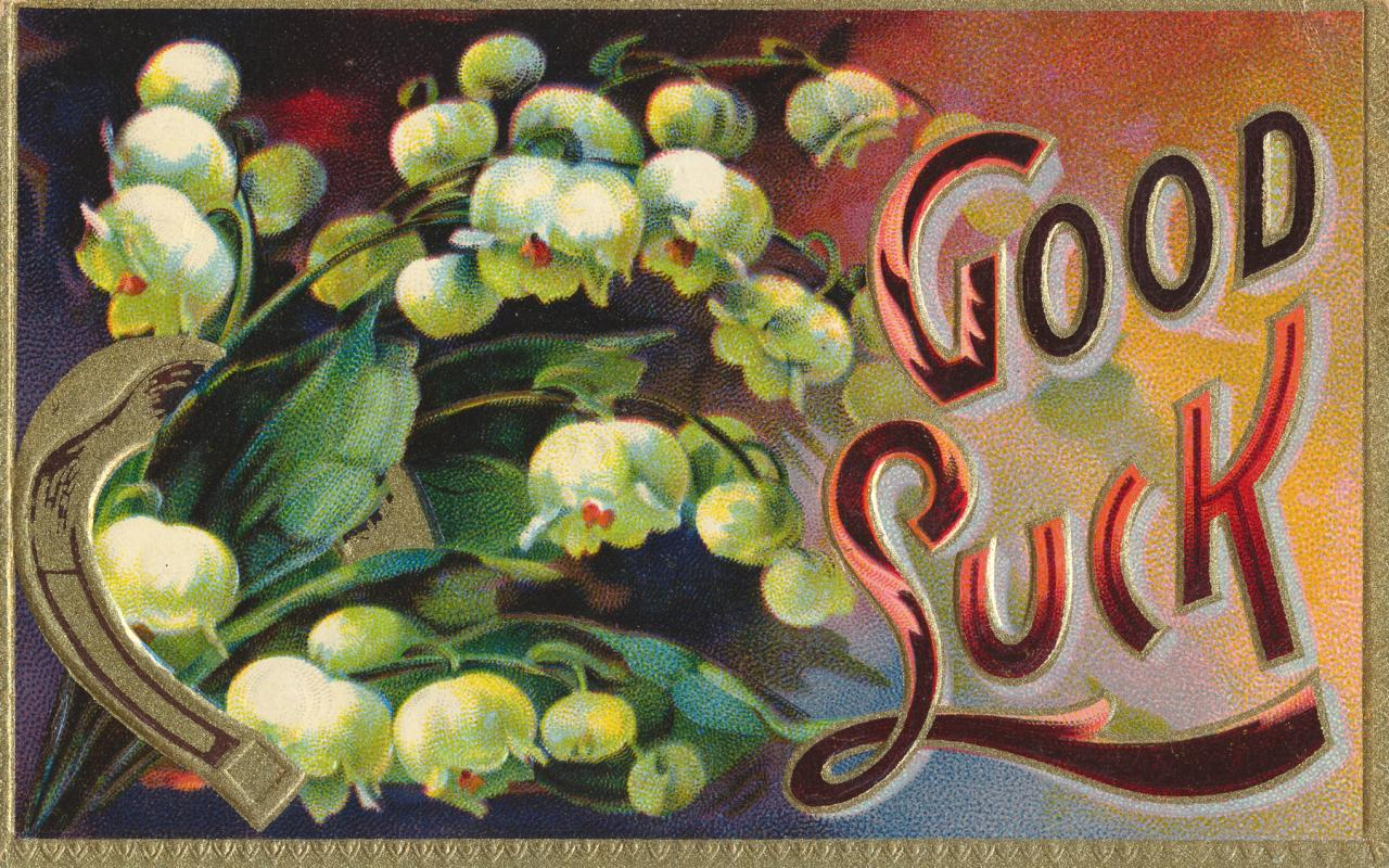 Free photo vintage good luck card ornamental ornament orange vintage good luck card kristyandbryce Image collections