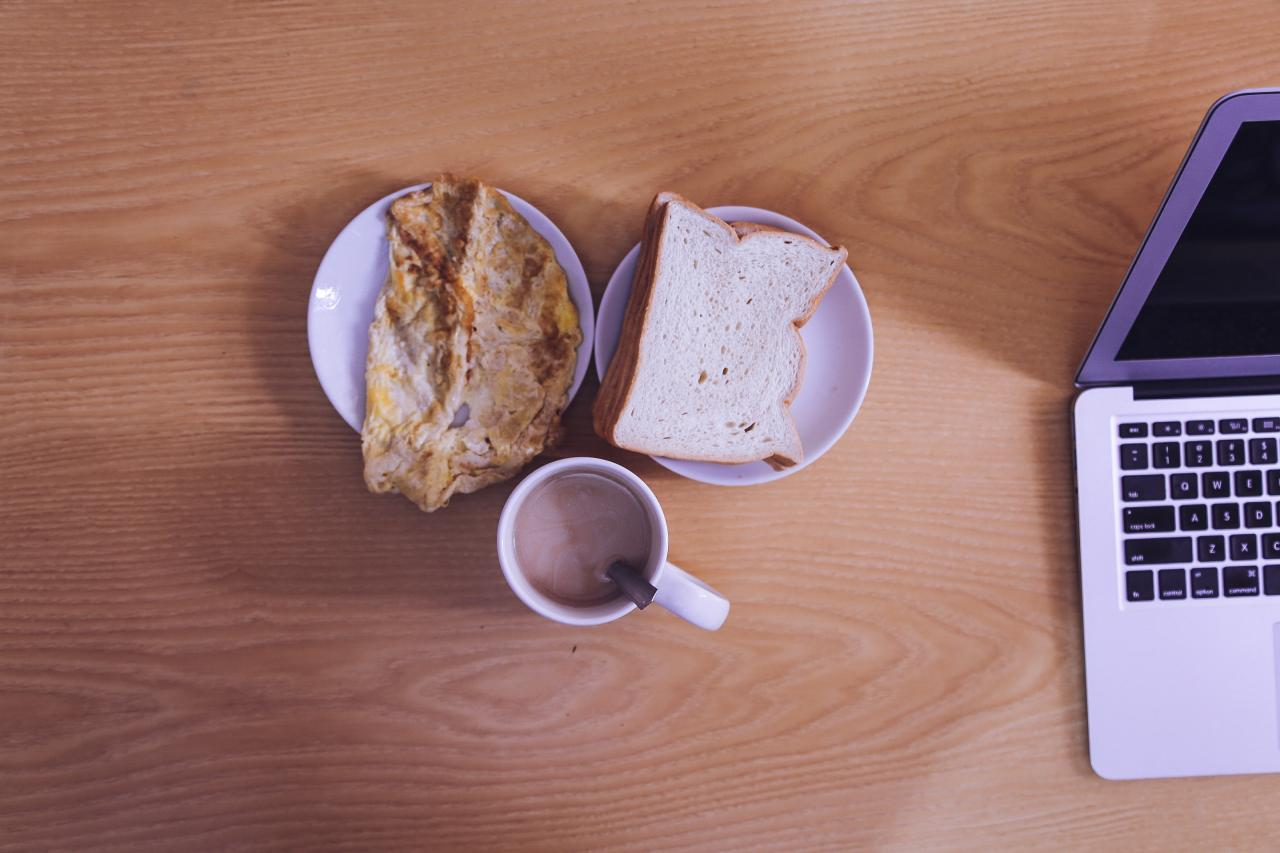 White Ceramic Mug Beside Bread on White Ceramic Saucer, laptop, plate, table, food, HQ Photo