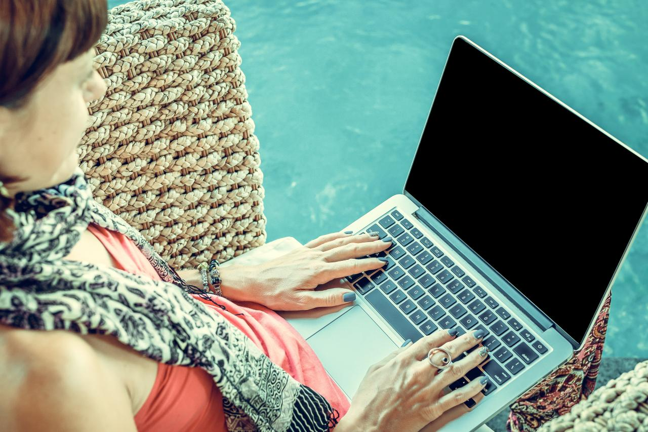 Woman Wearing Pink Top With Macbook on Lap, technology, swimming pool, slim, typing, HQ Photo