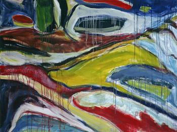 1990 - 'Rugged Dune Landscape', large painting art in acrylic; A high resolution art image in free download to print, public domain / Commons, CC-BY - Dutch painter-artist Fons Heijnsbroek