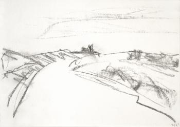 1990 - 'Sketch of Dutch coast', pencil drawing on paper, seascape near Zandvoort and the sandy beach of The Netherlands; A high resolution art image in free download to print, public domain / Commons, CC-BY, artist, Fons Heijnsbroek