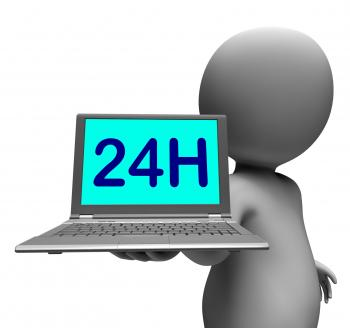24h Laptop And Character Shows All Day Open On Web