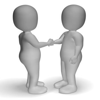 3d Characters Shaking Hands Showing Greeting Or Deal