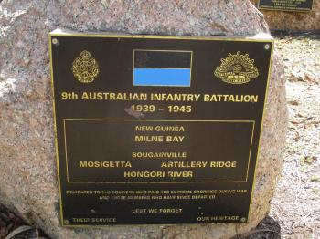 9th AUSTRALIAN INFANTRY BATTALION plaque at Rocky Creek Memorial.