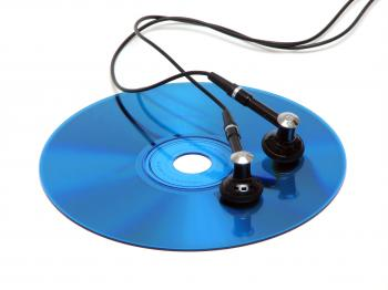 A blue cd with headphones