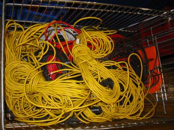 A bunch of yellow cables