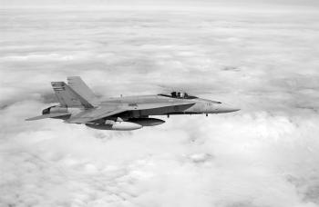 A CF-18 en route to Ottawa to celebrate the 60th anniversary of D-Day.