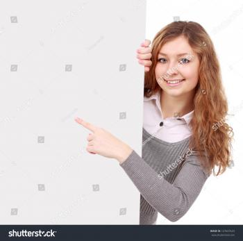 A cute young girl holding a blank sign