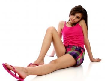 A cute young girl posing