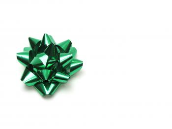 A green bow isolated