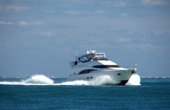 A motorboat on the ocean