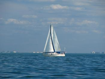 A sailboat on the ocean
