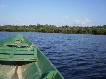 A small boat on amazon river
