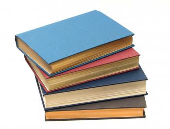 A stack of books isolated on a white