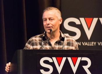 Aaron Davies, head of Developer Relations at Oculus VR giving 60 Second Pitch at SVVR
