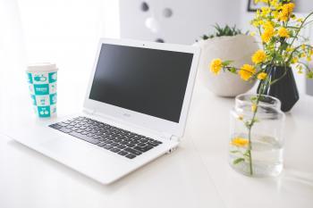 Acer Chromebook on the white desk