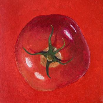 Acrylic painting of a red tomatoe