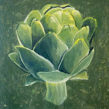 Acrylic painting of an artichoke