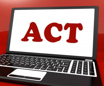 Act On Laptop Shows Motivate Inspire Or Performing