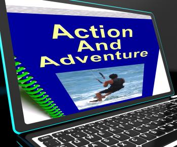 Action And Adventure On Laptop Shows Expeditions