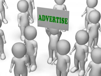 Advertise Board Character Means Marketing Strategy Or Business Adverti