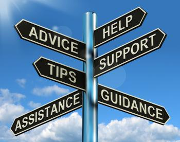 Advice Target Shows Support Help And Information