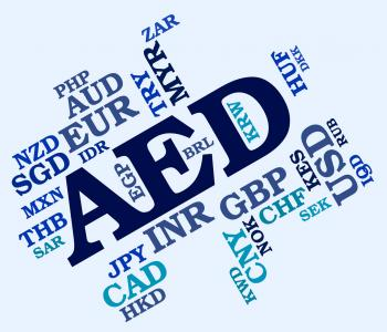 Aed Currency Represents United Arab Emirates And Coinage