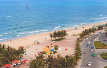 Aerial Photo of Beach Beside Road
