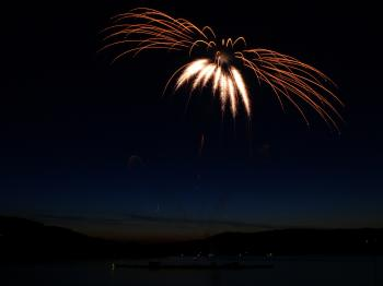 Aerial Photography of Fireworks Display during Night Time
