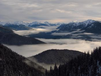Aerial Photography of Foggy Mountains