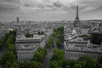 Aerial Shot If Eiffel Tower Paris Skyline