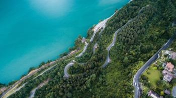 Aerial View of Curvy Road