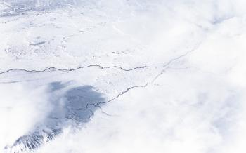 Aerial view of icy mountains