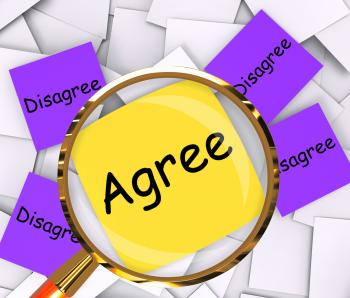 Agree Disagree Post-It Papers Mean Opinion Agreement Or Disagreement