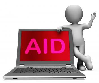 Aid And Character Laptop Shows Assisting Aiding Helping Or Relief