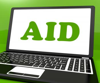 Aid On Laptop Shows Assisting Aiding Help Or Relief
