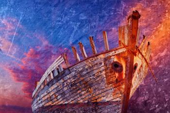 Akranes Shipwreck - Vibrant Grunge Fantasy