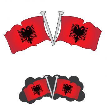 Albania flag on pole