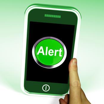 Alert Smartphone Shows Alerting Notification Or Reminder