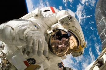 American astronaut in space