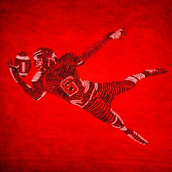 American Football Player on Red Background