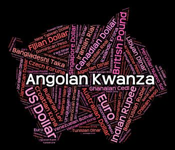 Angolan Kwanza Shows Exchange Rate And Banknotes