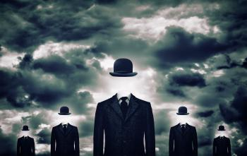 Anonymous businessmen with bowler hats
