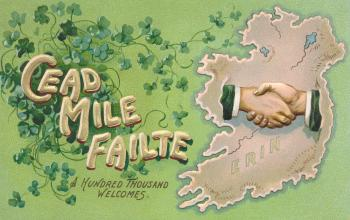 Antique Ireland Welcome Postcard