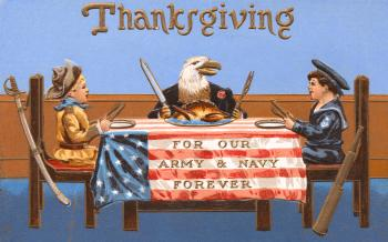 Antique Patriotic Thanksgiving Card