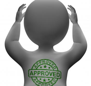 Approved Stamp On Man Showing Quality Excellent Products