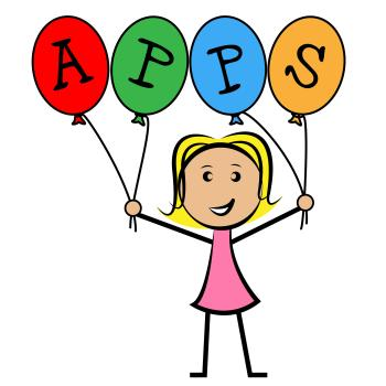 Apps Balloons Represents Application Software And Kids