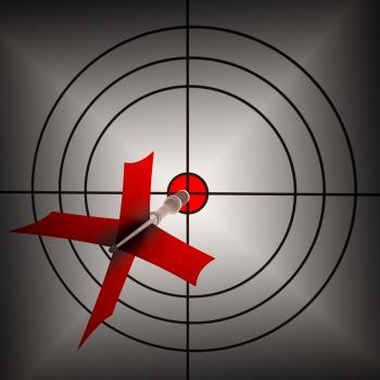 Arrow Aiming On Dartboard Shows Aiming Accuracy